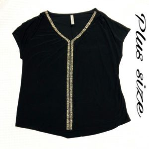 PerSeption plus size black top with detail